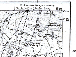 Reduced fragment of topographic map pl--wig--100k--P47S26--(1932)--N050-30_E017-50--N050-15_E018-20; towns and cities Krapkowice, Lesnica