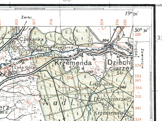Reduced fragment of topographic map pl--wig--100k--P47S28--(1933)--N050-30_E018-50--N050-15_E019-20; towns and cities Katowice, Sosnowiec, Myslowice, Siemianowice Slaskie, Tarnowskie Gory