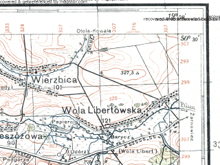 Reduced fragment of topographic map pl--wig--100k--P47S29--(1933)--N050-30_E019-20--N050-15_E019-50; towns and cities Zawiercie, Olkusz, Slawkow, Wolbrom