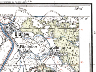 Reduced fragment of topographic map pl--wig--100k--P47S34--(1938)--N050-30_E021-50--N050-15_E022-20; towns and cities Rudnik