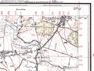 Reduced fragment of topographic map pl--wig--100k--P47S37--(1937)--N050-30_E023-20--N050-15_E023-50; towns and cities Tomaszow Lubelski, Ugnev, Zabor'ye, Giyche