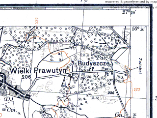 Reduced fragment of topographic map pl--wig--100k--P47S44--(1931)--N050-30_E026-50--N050-15_E027-20; towns and cities Slavuta, Annopol', Tsvetokha, Berezdov
