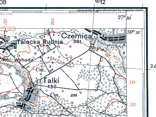 Reduced fragment of topographic map pl--wig--100k--P47S45--(1931)--N050-30_E027-20--N050-15_E027-50; towns and cities Baranovka, Kiyanka, Orepy, Polyanka