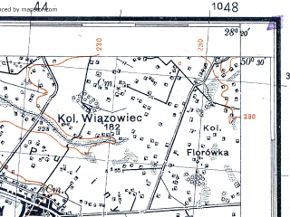 Reduced fragment of topographic map pl--wig--100k--P47S46--(1931)--N050-30_E027-50--N050-15_E028-20; towns and cities Dovbysh, Mar'yanovka, Barvinovka, Bykovka