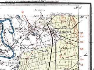 Reduced fragment of topographic map pl--wig--100k--P48S26--(1933)--N050-15_E017-50--N050-00_E018-20; towns and cities Raciborz, Nedza
