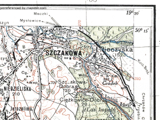 Reduced fragment of topographic map pl--wig--100k--P48S28--(1933)--N050-15_E018-50--N050-00_E019-20; towns and cities Tychy, Mikolow, Oswiecim
