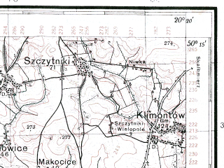 Reduced fragment of topographic map pl--wig--100k--P48S30--(1933)--N050-15_E019-50--N050-00_E020-20; towns and cities Krakow, Nowa Huta, Slomniki, Kocmyrzow, Proszowice