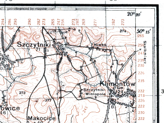 Reduced fragment of topographic map pl--wig--100k--P48S30--(1939)--N050-15_E019-50--N050-00_E020-20; towns and cities Krakow, Nowa Huta, Proszowice, Slomniki, Kocmyrzow