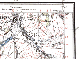 Reduced fragment of topographic map pl--wig--100k--P48S33--(1938)--N050-15_E021-20--N050-00_E021-50; towns and cities Debica, Kolbuszowa, Ropczyce