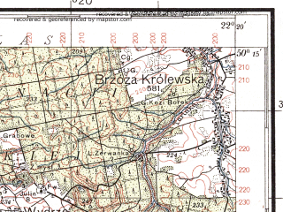Reduced fragment of topographic map pl--wig--100k--P48S34--(1938)--N050-15_E021-50--N050-00_E022-20; towns and cities Rzeszow, Lancut, Sokolow Malopolski, Kosina