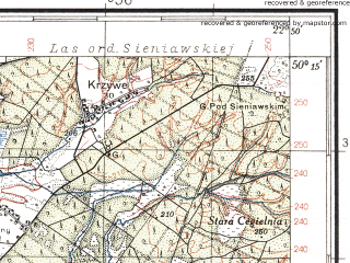 Reduced fragment of topographic map pl--wig--100k--P48S35--(1938)--N050-15_E022-20--N050-00_E022-50; towns and cities Jaroslaw, Przeworsk