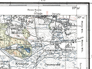 Reduced fragment of topographic map pl--wig--100k--P48S37--(1935)--N050-15_E023-20--N050-00_E023-50; towns and cities Rava-russkaya, Krekhov, Lipnik, Magerov