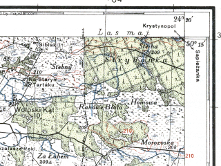 Reduced fragment of topographic map pl--wig--100k--P48S38--(1935)--N050-15_E023-50--N050-00_E024-20; towns and cities Nesterov, Novaya Skvaryava, Podlesnoye, Reklinets