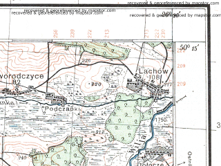Reduced fragment of topographic map pl--wig--100k--P48S42--(1927)--N050-15_E025-50--N050-00_E026-20; towns and cities Khoroshev, Lyudvishche, Shumbar