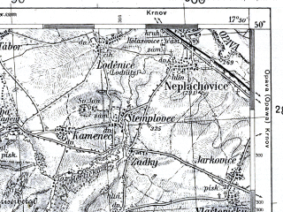 Reduced fragment of topographic map pl--wig--100k--P49S25--(1938)--N050-00_E017-20--N049-45_E017-50; towns and cities Bruntal