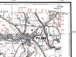 Reduced fragment of topographic map pl--wig--100k--P49S32--(1937)--N050-00_E020-50--N049-45_E021-20; towns and cities Tuchow, Pilzno
