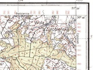 Reduced fragment of topographic map pl--wig--100k--P49S33--(1938)--N050-00_E021-20--N049-45_E021-50; towns and cities Strzyzow