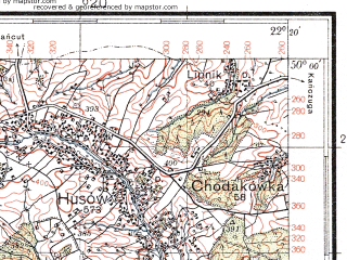 Reduced fragment of topographic map pl--wig--100k--P49S34--(1938)--N050-00_E021-50--N049-45_E022-20; towns and cities Blazowa, Dynow
