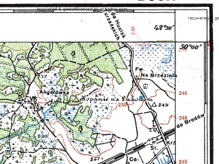 Reduced fragment of topographic map pl--wig--100k--P49S39--(1935)--N050-00_E024-20--N049-45_E024-50; towns and cities Busk, Glinyany, Krasnoye, Kurovichi, Novoselki