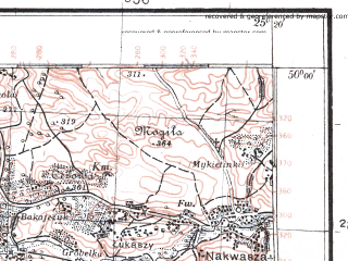 Reduced fragment of topographic map pl--wig--100k--P49S40--(1924)--N050-00_E024-50--N049-45_E025-20; towns and cities Zolochev, Voronyaki, Belogolovy, Yasenov