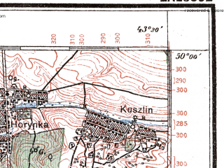 Reduced fragment of topographic map pl--wig--100k--P49S41--(1925)--N050-00_E025-20--N049-45_E025-50; towns and cities Vishnevets, Rakovets, Bashuki, Rostoki