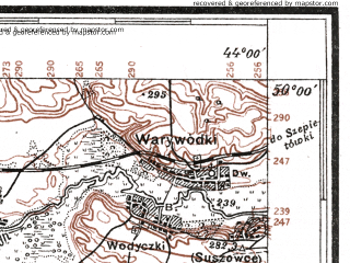 Reduced fragment of topographic map pl--wig--100k--P49S42--(1927)--N050-00_E025-50--N049-45_E026-20; towns and cities Lanovtsy, Yampol', Yus'kovtsy, Lepesovka