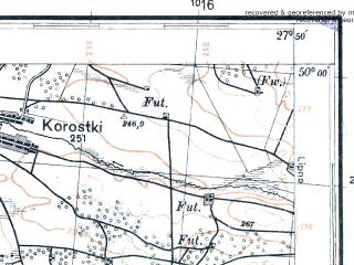 Reduced fragment of topographic map pl--wig--100k--P49S45--(1931)--N050-00_E027-20--N049-45_E027-50; towns and cities Lyubar, Levkovka, Velikaya Volitsa, Velikiye Derevichi