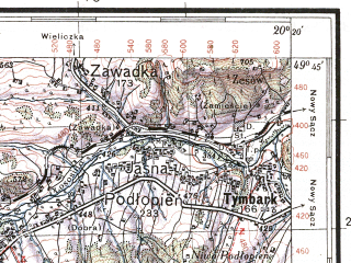 Reduced fragment of topographic map pl--wig--100k--P50S30--(1934)--N049-45_E019-50--N049-30_E020-20; towns and cities Rabka