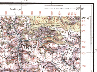 Reduced fragment of topographic map pl--wig--100k--P50S31--(1937)--N049-45_E020-20--N049-30_E020-50; towns and cities Nowy Sacz, Limanowa, Stary Sacz
