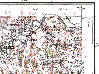 Reduced fragment of topographic map pl--wig--100k--P50S32--(1937)--N049-45_E020-50--N049-30_E021-20; towns and cities Gorlice, Grybow