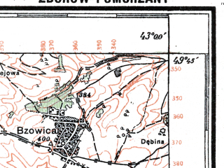 Reduced fragment of topographic map pl--wig--100k--P50S40--(1925)--N049-45_E024-50--N049-30_E025-20; towns and cities Mlynovtsy, Ozernaya, Podgaychiki