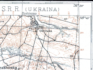 Reduced fragment of topographic map pl--wig--100k--P50S42--(1930)--N049-45_E025-50--N049-30_E026-20; towns and cities Volochisk, Podvolochisk, Koshlyaki, Novoye Selo, Sinyava