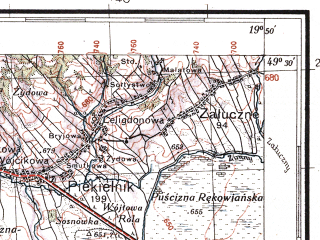 Reduced fragment of topographic map pl--wig--100k--P51S29--(1934)--N049-30_E019-20--N049-15_E019-50