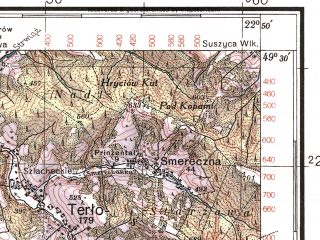 Reduced fragment of topographic map pl--wig--100k--P51S35--(1938)--N049-30_E022-20--N049-15_E022-50; towns and cities Ustrzyki Dolne, Lesko, Terlo
