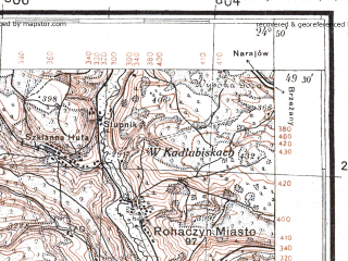 Reduced fragment of topographic map pl--wig--100k--P51S39--(1926)--N049-30_E024-20--N049-15_E024-50; towns and cities Burshtyn, Rogatin, Babintsy, Knyaginichi, Sarniki