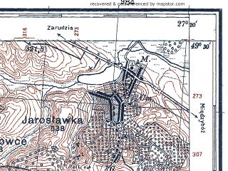 Reduced fragment of topographic map pl--wig--100k--P51S44--(1931)--N049-30_E026-50--N049-15_E027-20; towns and cities Khmel'nitskiy, Ruzhichnaya, Malinichi, Yaroslavka, Masivtsy