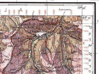 Reduced fragment of topographic map pl--wig--100k--P52S29--(1934)--N049-15_E019-20--N049-00_E019-50; towns and cities Liptovsky Svaty Mikulas