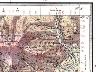 Reduced fragment of topographic map pl--wig--100k--P52S30--(1934)--N049-15_E019-50--N049-00_E020-20; towns and cities Poprad