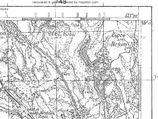 Reduced fragment of topographic map pl--wig--100k--P52S32--(1935)--N049-15_E020-50--N049-00_E021-20