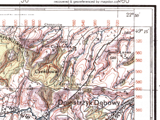 Reduced fragment of topographic map pl--wig--100k--P52S35--(1937)--N049-15_E022-20--N049-00_E022-50; towns and cities Boberka, Stuzhitsa