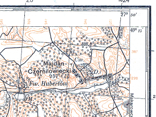 Reduced fragment of topographic map pl--wig--100k--P52S45--(1932)--N049-15_E027-20--N049-00_E027-50; towns and cities Bar, Volkovintsy, Dashkovtsy, Voloshskoye