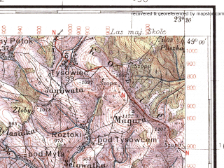 Reduced fragment of topographic map pl--wig--100k--P53S36--(1937)--N049-00_E022-50--N048-45_E023-20; towns and cities Zhupany, Bitlya, Gnilaya