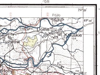 Reduced fragment of topographic map pl--wig--100k--P53S38--(1929)--N049-00_E023-50--N048-45_E024-20; towns and cities Pereginskoye, Dolina, Krasnoye, Tuzhilov, Lipovitsa