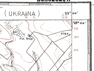 Reduced fragment of topographic map pl--wig--100k--P53S42--(1928)--N049-00_E025-50--N048-45_E026-20; towns and cities Skala-podol'skaya, Borshchev, Davydkovtsy, Glubochok, Strelkovtsy