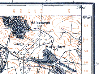 Reduced fragment of topographic map pl--wig--100k--P53S45--(1931)--N049-00_E027-20--N048-45_E027-50; towns and cities Podlesnyy Yaltushkov, Konishchev, Popovtsy