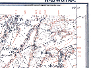 Reduced fragment of topographic map pl--wig--100k--P54S39--(1929)--N048-45_E024-20--N048-30_E024-50; towns and cities Nadvornaya, Delyatin, Lanchin, Manyava, Rakovets