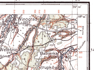 Reduced fragment of topographic map pl--wig--100k--P54S39--(1935)--N048-45_E024-20--N048-30_E024-50; towns and cities Nadvornaya, Delyatin, Lanchin, Babche, Molodkov