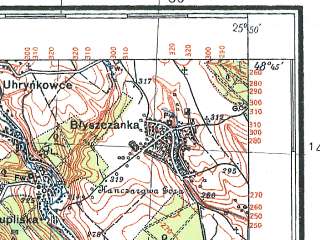 Reduced fragment of topographic map pl--wig--100k--P54S41--(1926)--N048-45_E025-20--N048-30_E025-50; towns and cities Gorodenka, Zaleshchiki, Rusov, Torgovitsa, Prilipche