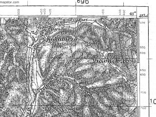 Reduced fragment of topographic map pl--wig--100k--P55S36--(1938)--N048-30_E022-50--N048-15_E023-20; towns and cities Dolgoye, Il'nitsa, Belki, Zaluzh'ye, Bron'ka