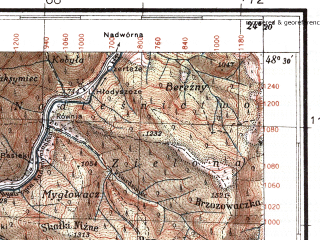 Reduced fragment of topographic map pl--wig--100k--P55S38--(1935)--N048-30_E023-50--N048-15_E024-20; towns and cities Bystritsa, Lopukhov, Ust'-chorna